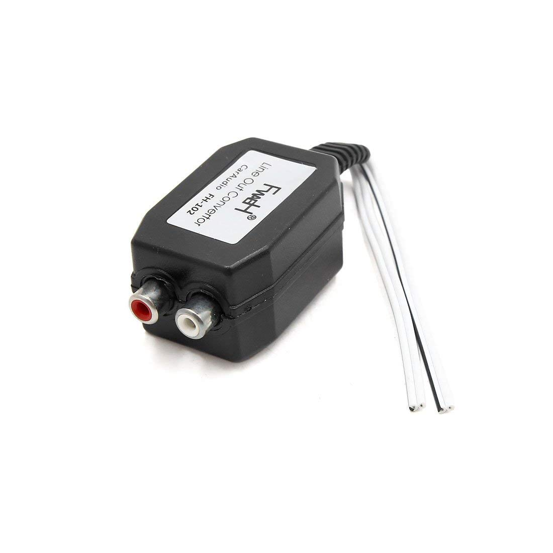 uxcell 12V High to Low Line Out 2 RCA Socket Audio Speaker Level Converter for Car
