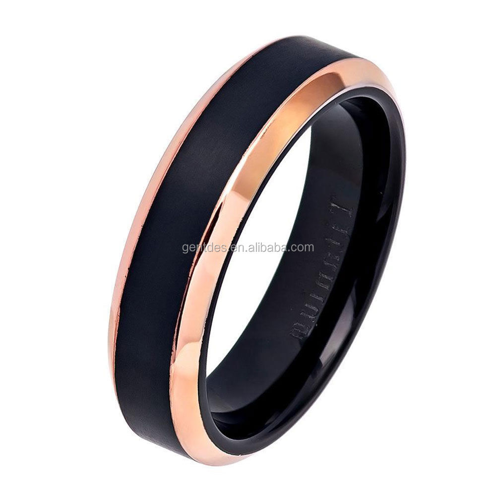 Men's 6mm Titanium Band Two Tone Black Rose Gold IP Brushed Center Ring