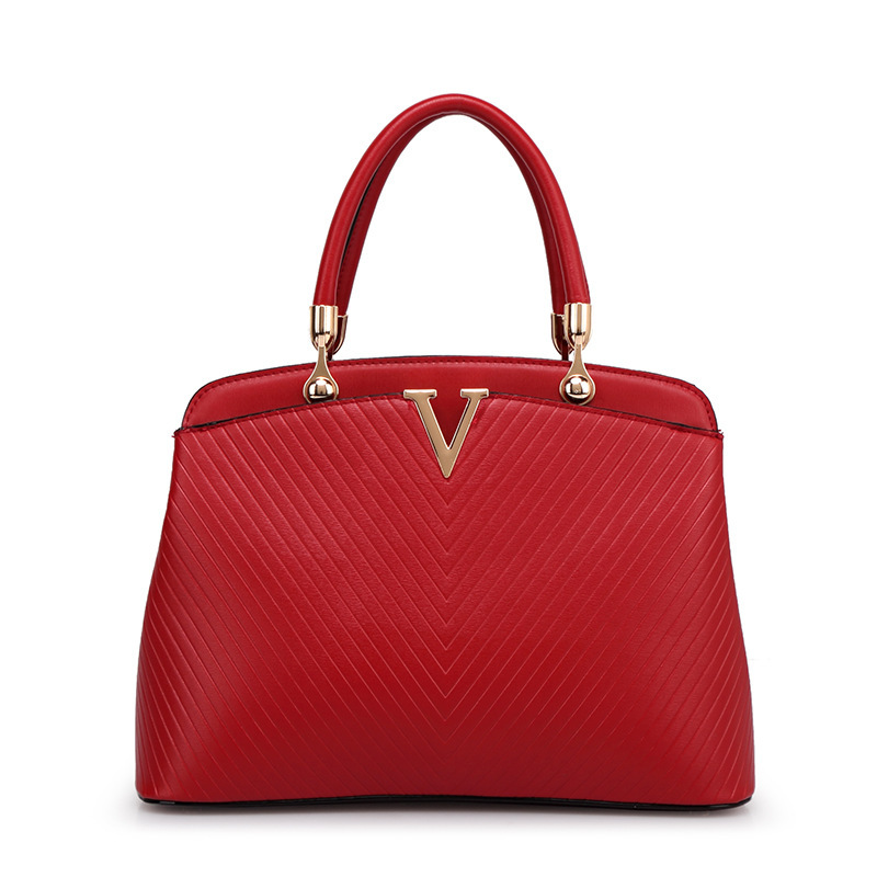 2015 New Fashion Women Bag, V-shaped Cross Pattern Leather Handbags, Lady Shoulder Bags, Red Color Large Size Women Handbags A30