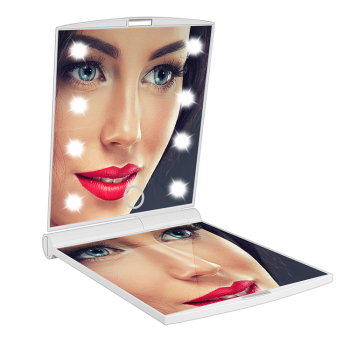 Pocket mirror 8 LED beauty Light Makeup Mirrors Portable Folding Compact Hand Cosmetic Mirror