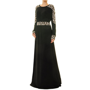 Wholesale Islamic Clothing Ladies Long Dolman Sleeve Black Abaya Maxi Dress