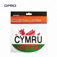 Adhesive WALES oval car sticker