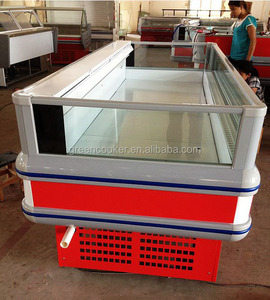 commercial supermarket Island showcase/freezer for seafood fish/river crab and freezing temperature