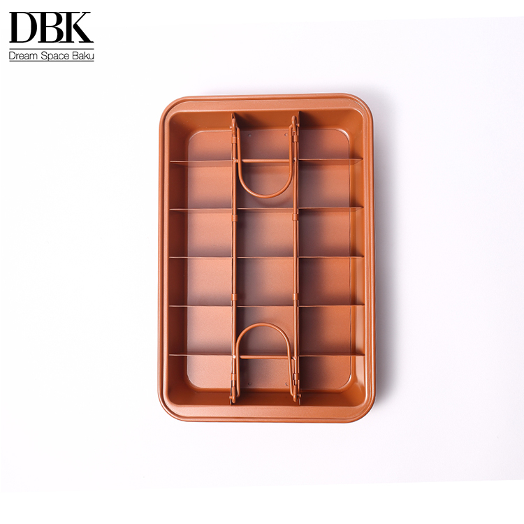 Heavy duty Unterteilt Brownie Tablett 18 Hohlraum 12,8 zoll Dark Gold backen mold bäckerei mould Kein stick Brownie Pan Zinn mit Teiler