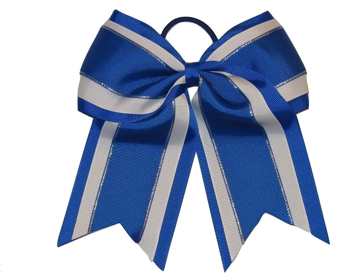 """NEW /""""SPARKLE DOTS Aqua Blue/"""" Cheer Bow Pony Tail Ribbon Hair Bows Cheerleading"""