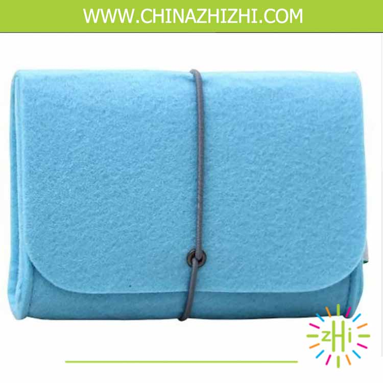 Sky blue Felt handbags Clutches bag