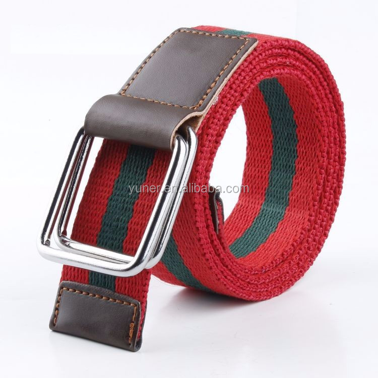 Western Man Stripe Canvas Belt Fabric Belt Cotton Belt