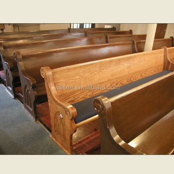 CH B082, Wooden Church Pew Benches Chairs With Antique Finishing