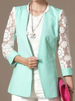 long sleeve ladies mini design cotton coat with lace