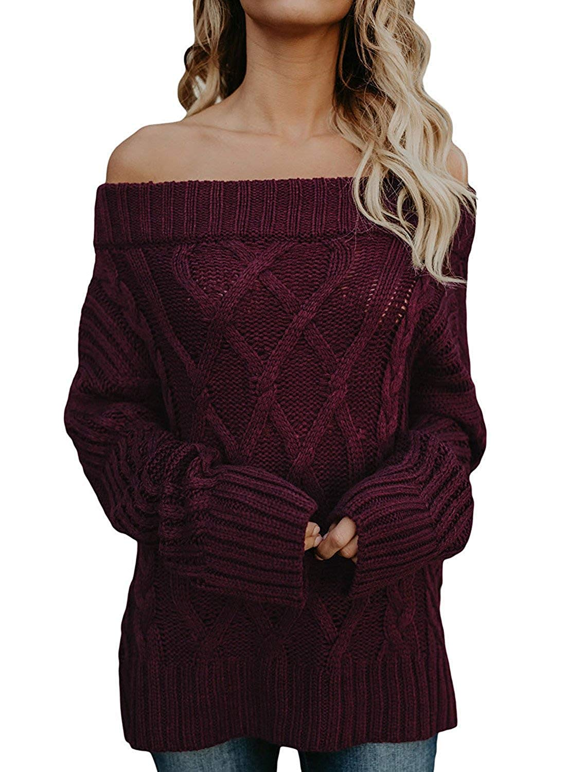 ebe71a9150d510 Get Quotations · Pengfei Women s Sexy Off Shoulder Loose Sweaters Oversized  Batwing Sleeve Cable Knit Pullovers