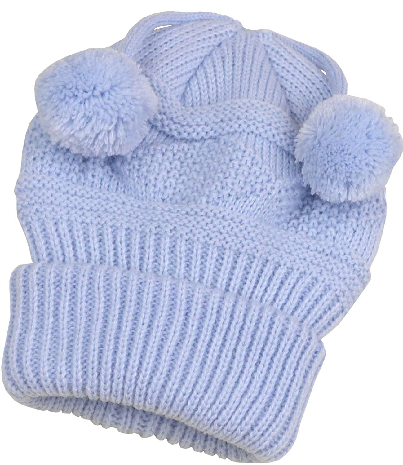 BabyPrem Baby Hat Cable Knit Beanie Pom Pom Warm Clothes Cap Pink Blue Boy Girl