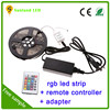rgb led light strip waterproof ip65 dc 12v 5m/roll 300led flexible rgb 5050 led strip kit with adapter and remote controller