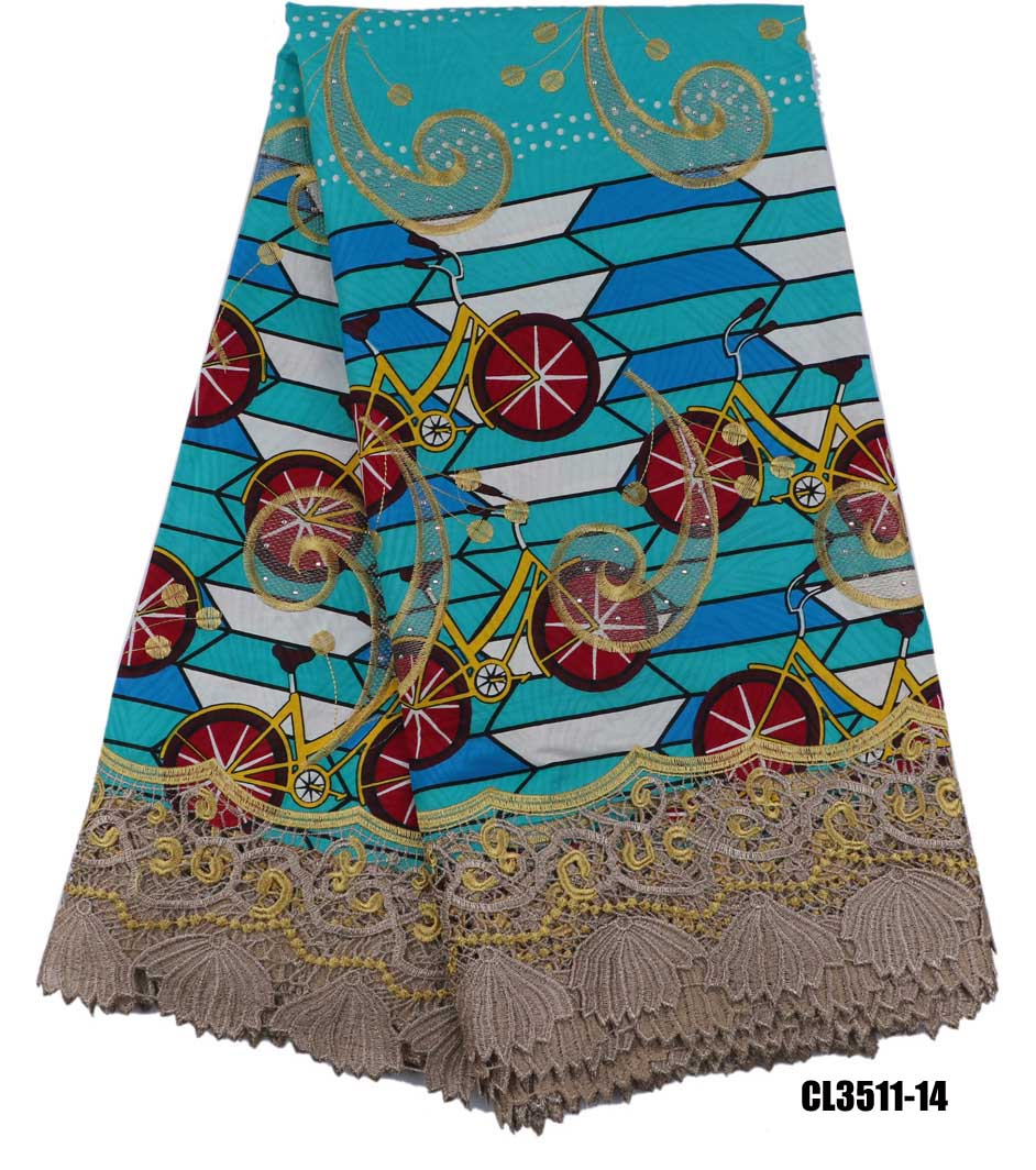 ankara fabric with beads high quality super wax prints net lace Embroidered african guipure for wedding 6 yards