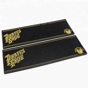 Promotion bar mat embossed brand logo soft pvc rubber beer bar drinking counter mat