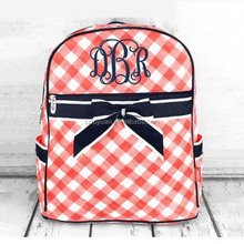 Wholesale 2016 hot sell beautiful plaid girl school backpack with bowknot