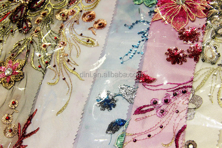Fancy Handmade Embroidered Netting Fabric Beaded Embroidery ...