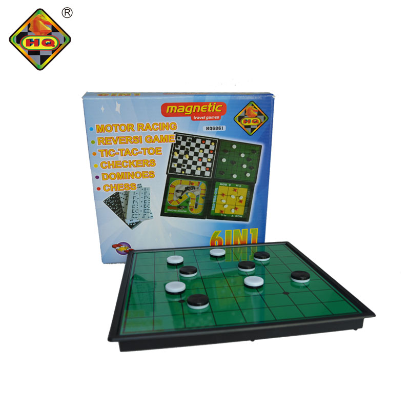 6 in1 plastic motor racing and reversi chess board travel games with 3 in a row for kids