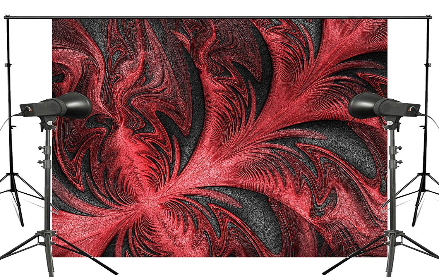 ERTIANANG Red Leaves Shape Background Abstract Black Backdrops Art Photo Studio Backdrop 150x210cm Photography Background Wall