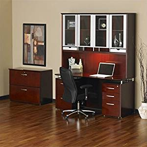 "Mayline Napoli 72"" Desk with Curved Single Pedestal Extension and Center Drawer - Mahogany"