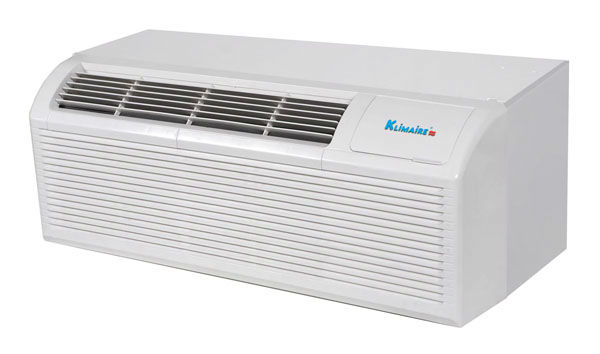 15,000 Btu Klimaire PTAC Packaged Terminal Air Conditioner & Heat Pump - with 3kW Backup Heater Wall Sleeve & Back Grille 220 V