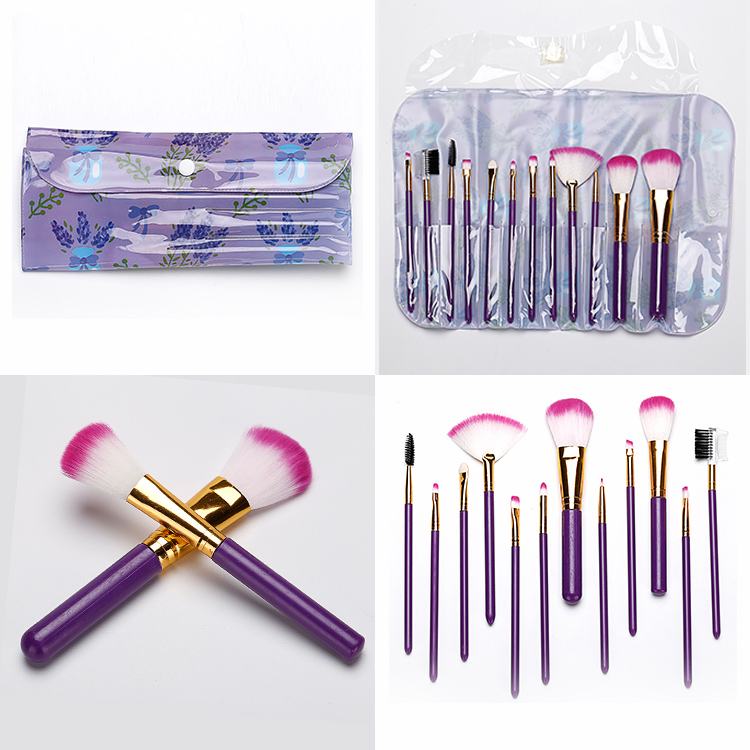 12pcs New Style Makeup Brush Factory Nylon Hair Makeup Brushes Manufacturer Private Label Purple Makeup Brush