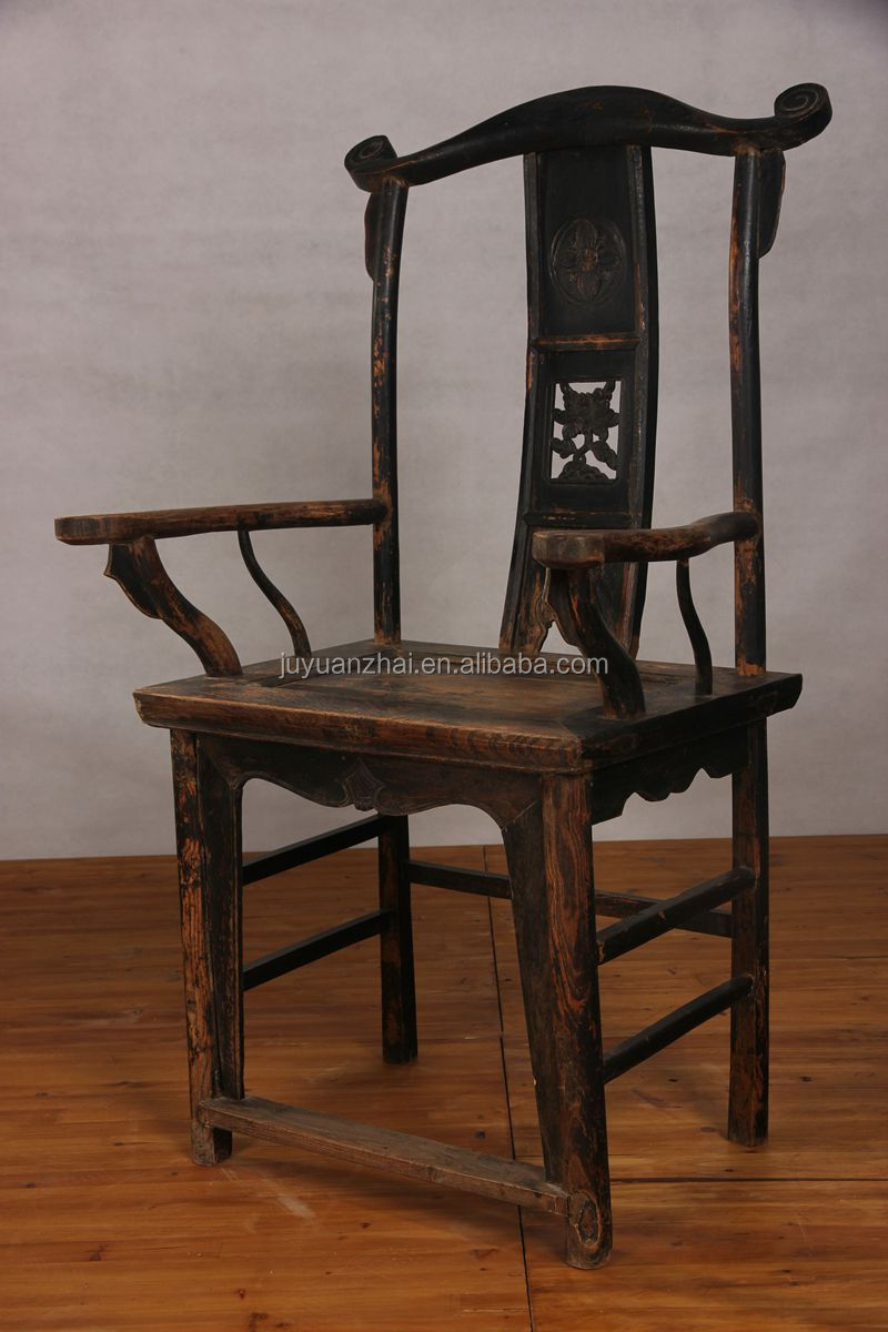 antique chinese wood carved back chair