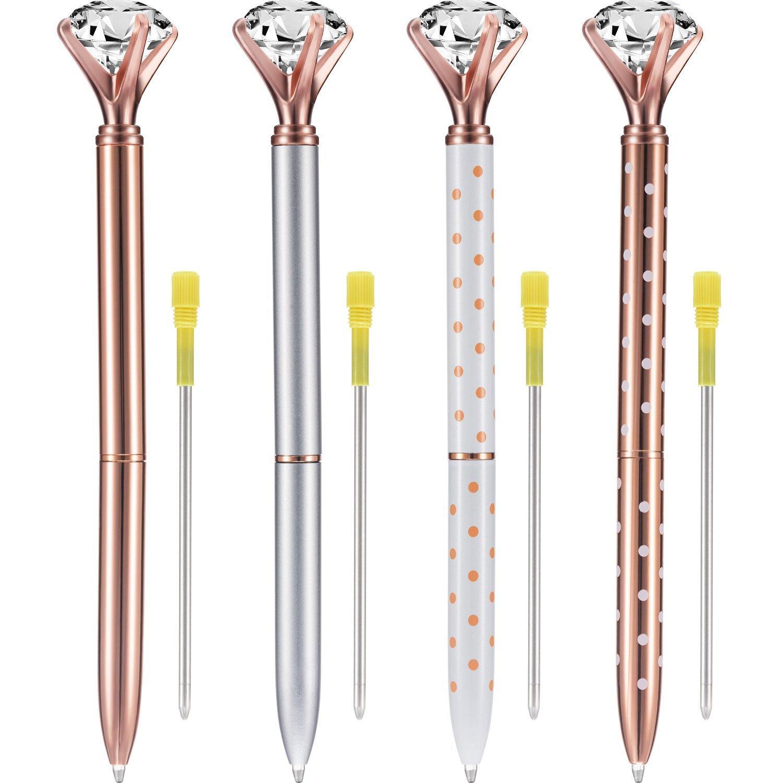 Bememo 4 Pieces Big Crystal Diamond Pen Metal Ballpoint Pen Black Ink and 4 Pieces Ballpoint Pen Refills (Multicolor B)