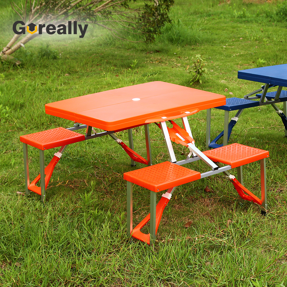 - Outdoor Folding Chair Attached Table With Umbrella Hole - Buy