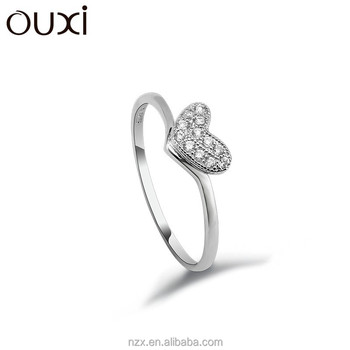 Ouxi Fashion 925 Sterling Silver Wedding Ring Heart Imprint Ring