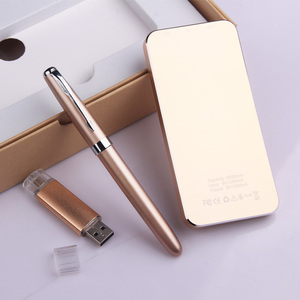 Wholesale gift custom power bank 5000mah gift pen set engraved logo promotional ball pen set with 4G USB