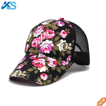 summer casual girls sublimation printed flower mesh sport sun snapback hats  baseball cap 2b3d9fc8bc6