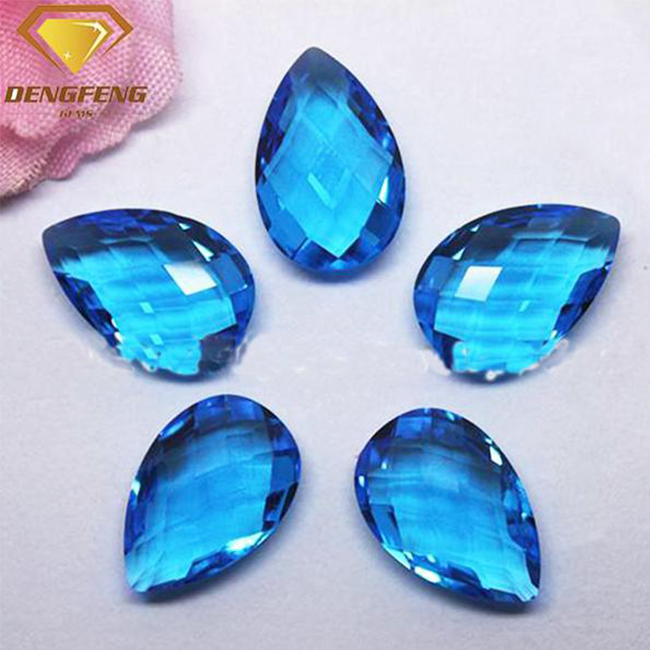 Aqua Blue Color Gems Pear Shape Double Brio Crystal Glass Stones