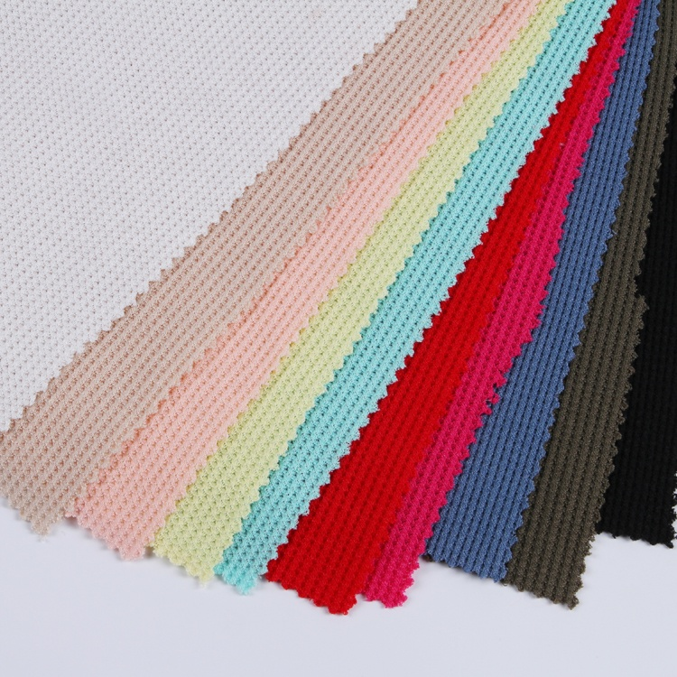 Hot sale polyester rayon spandex waffle knit plain dyed fabric