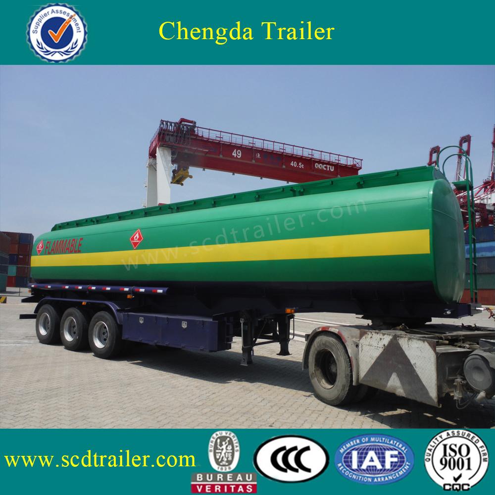3 Axle Oil Fuel Tanker , Fuel Tank Semi Trailer 40000