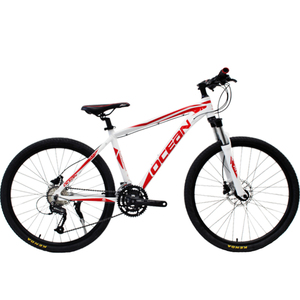 26 inch Alloy 6061 frame 27 speed white red Mountain bike Double disc brake MTB