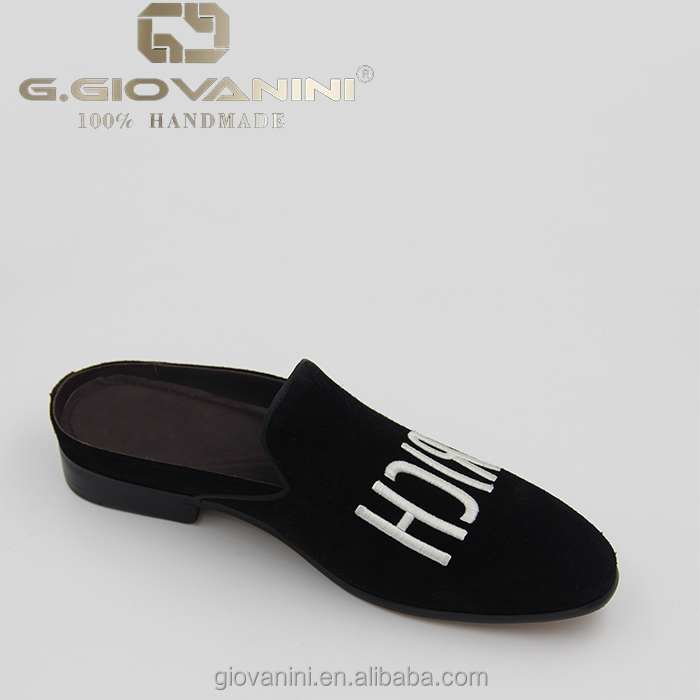 2017 black top-grade leather suede embroidery brand high quality dress slippers