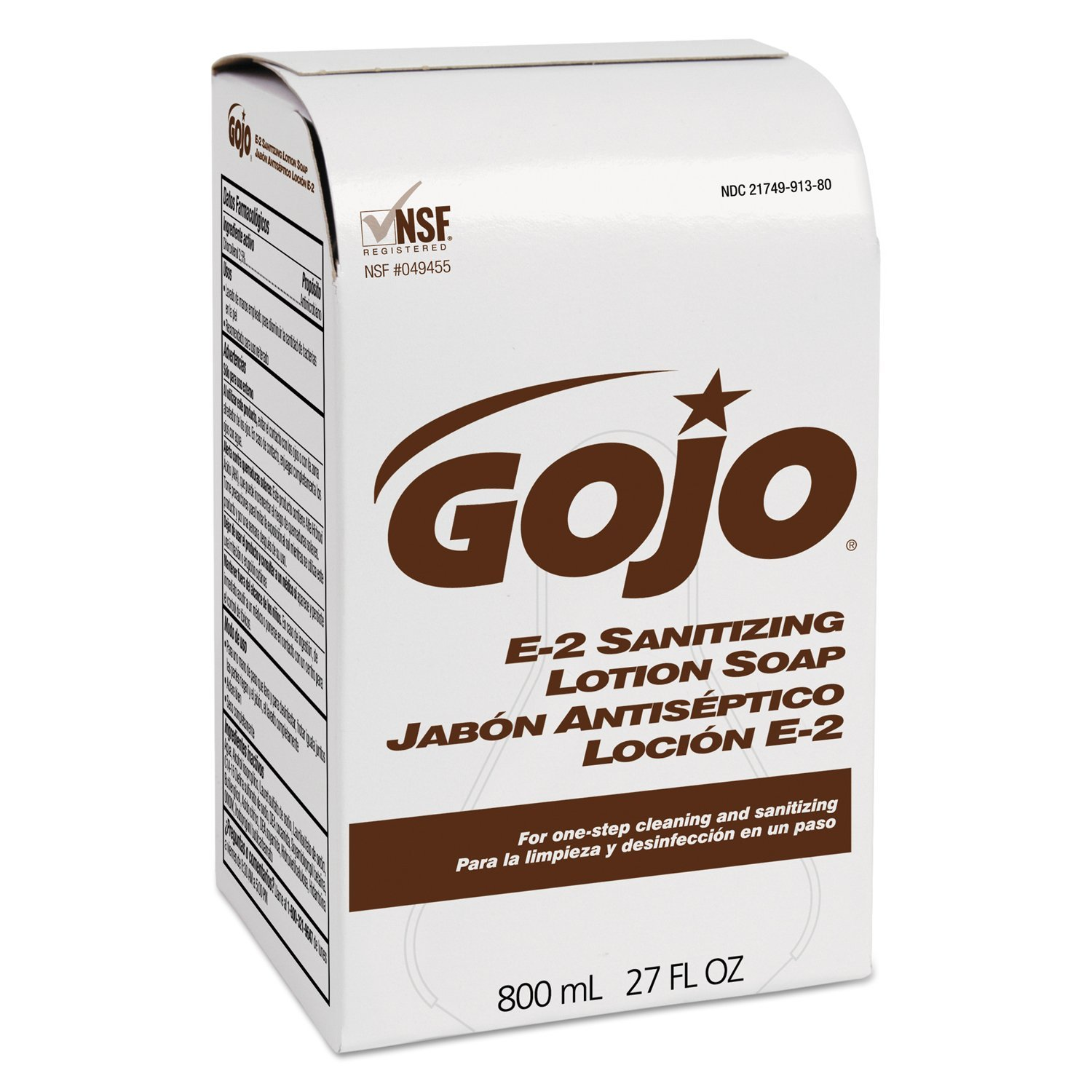 GOJO GOJ 9132 Food Industry Sanitary Soap, Amber, Fragrance Free, 800 mL (Pack of 12)