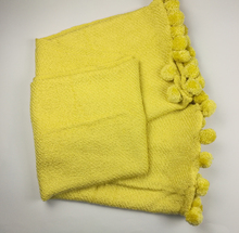 SZPLH Popular yellow woven acrylic blanket with small ball