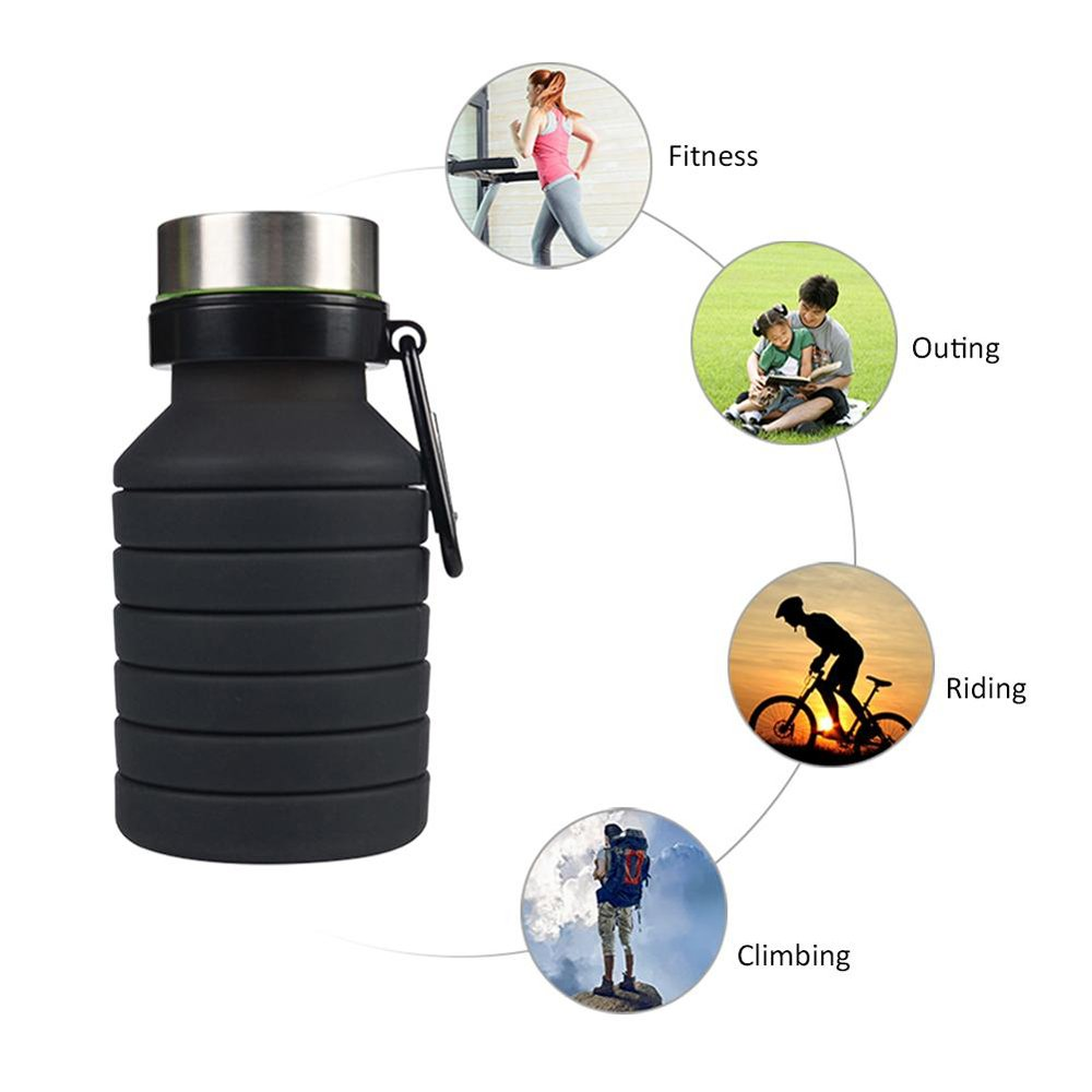 100% Premium Kitchen Grade Sport Travel Silicone Foldable Water Bottle with Hook