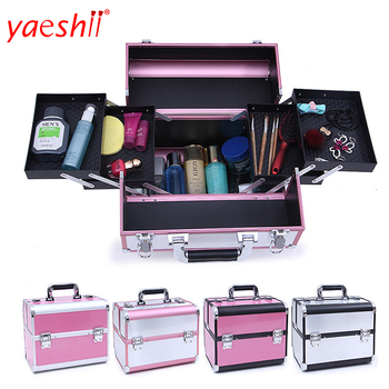 yaeshii Professional Portable aluminum Cosmetic Case Makeup Case Storage Organizer Nail Art Storge Case For Cosmetics