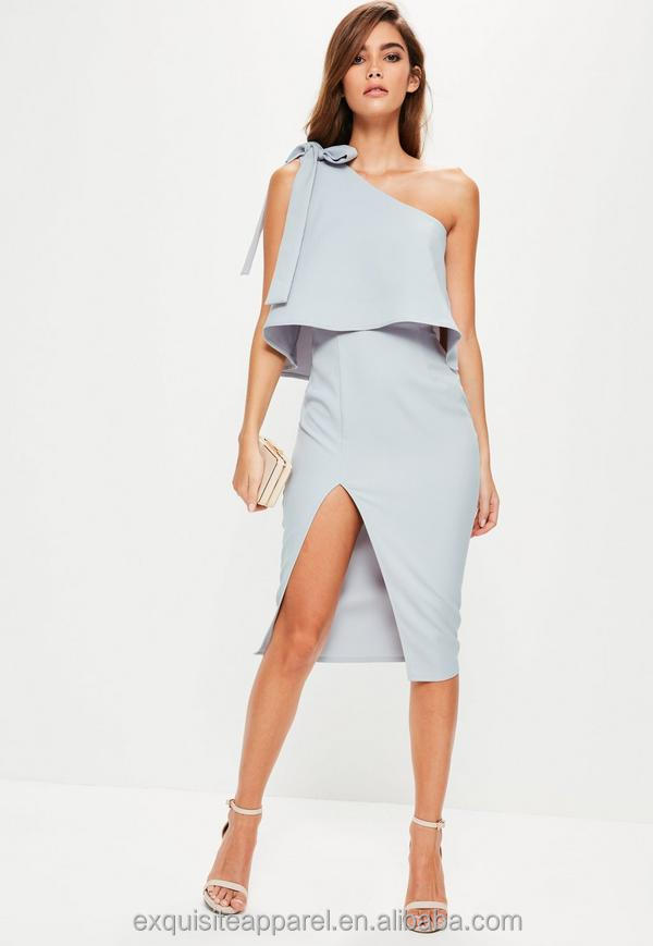 Solid cool grey fully lined dress for women sexy style one shoulder mid peplum dress