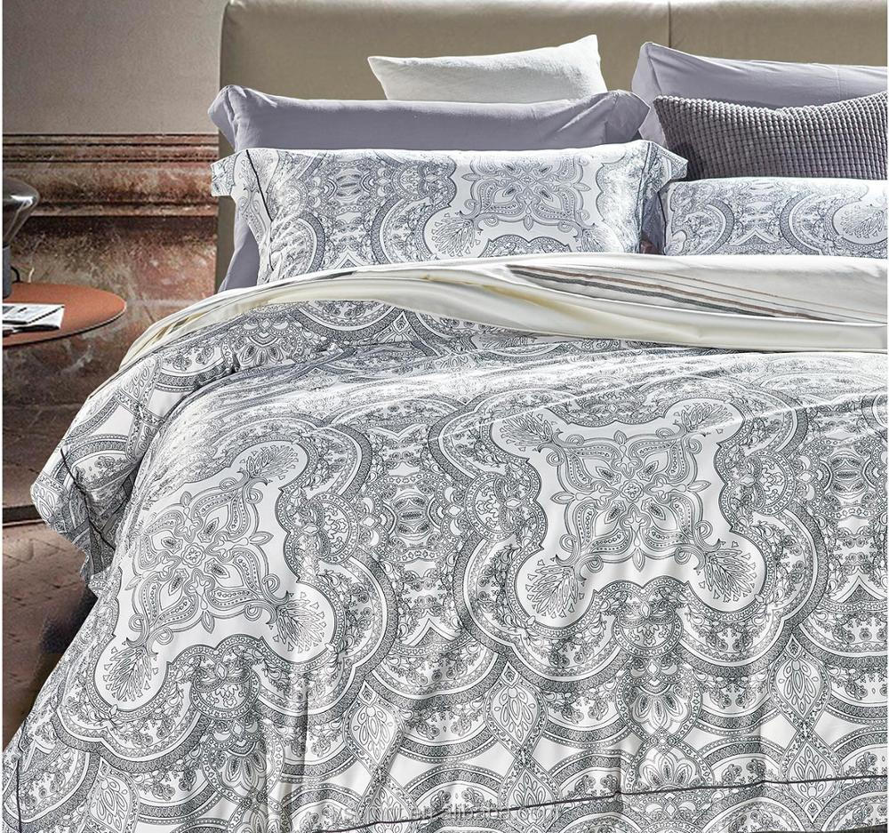 wholesale 100% cotton sateen bed sheet king size printed bedding duvet cover set
