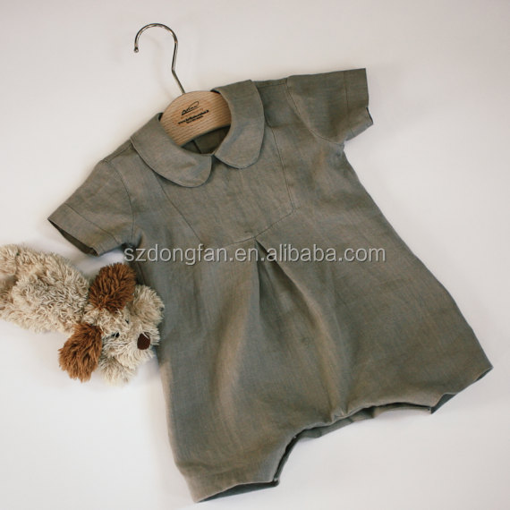 Boys Linen Romper Baptism Outfit Linen Suit Organic Natural Linen Baby Boy Clothing