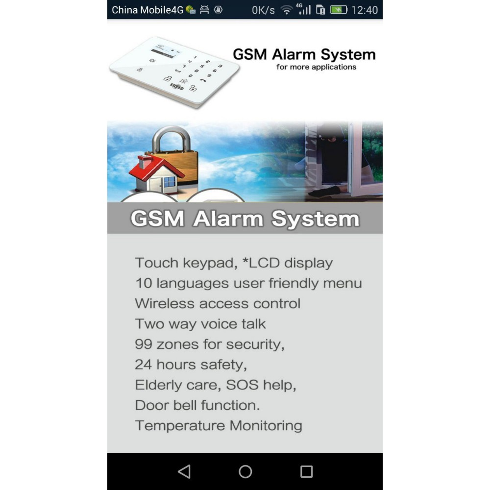gsm alarm system with GPRS 3G wifi camera alarm K9