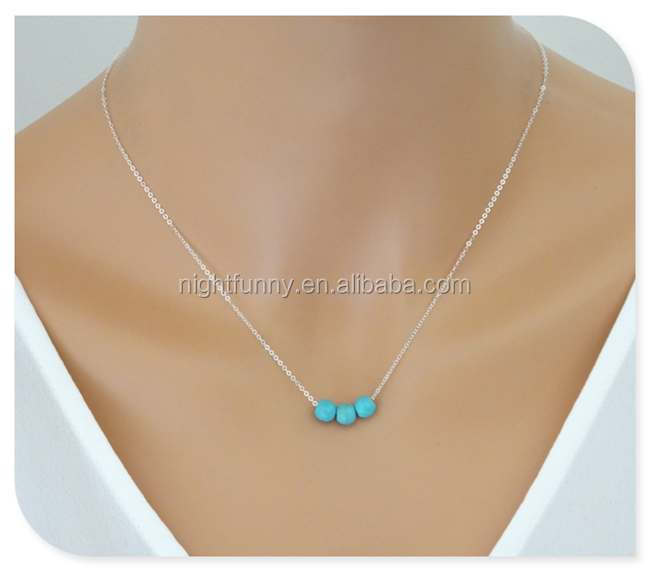 Floating Turquoise 14K Gold fill Necklace,Three floating Turquoise beads, Bridesmaid gold necklace