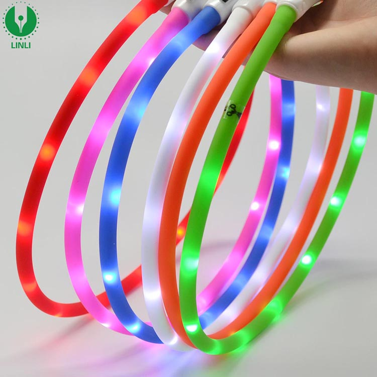 Hot Sale Ajustable Silicone In Night Chargeable LED Collar Light,Circular Led Light,Dog Collar