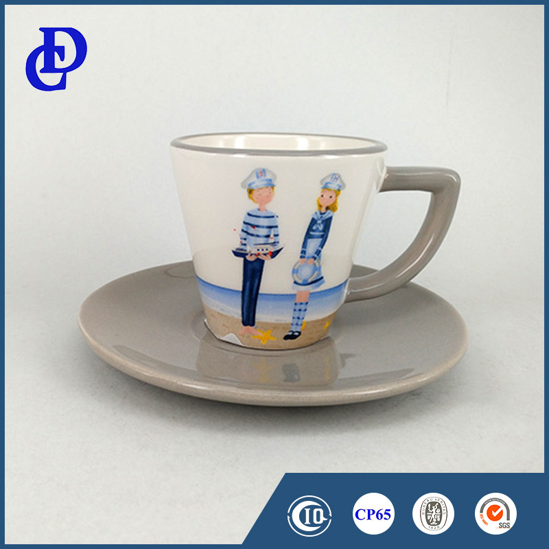 Home and office set embossed logo cheap ceramic tea cups and saucers
