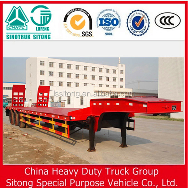 50 tons low bed semi trailer with 16 tons axles for steel coils transport