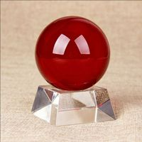 Excellent Glass Red Crystal Ball with Wooden Stand for Desktop Decoration