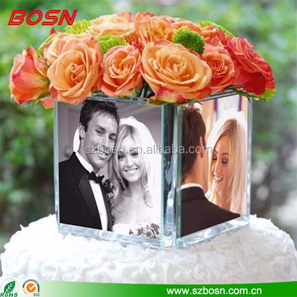 Beautiful acrylic flower vase with four side photo frame for decoration wholesale